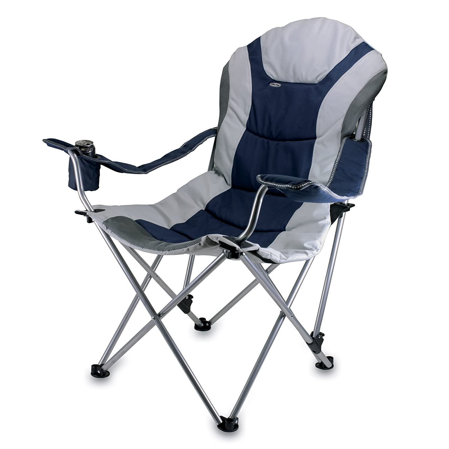 Lawn chair portable reclining padded back navy blue w for Reclining patio chair
