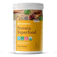 Amazing Grass Protein Superfood: Organic Vegan Protein Powder, Plant Based Meal Replacement Shake with 2 servings of Fruits and Veggies, Peanut Butter Flavor, 10 Servings, 14.8 Ounce
