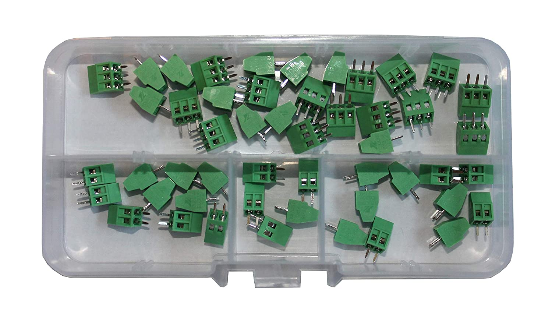 Screw Terminal Block 2.54mm Pitch 2 & 3 Pole (50 Piece Kit) by QSU