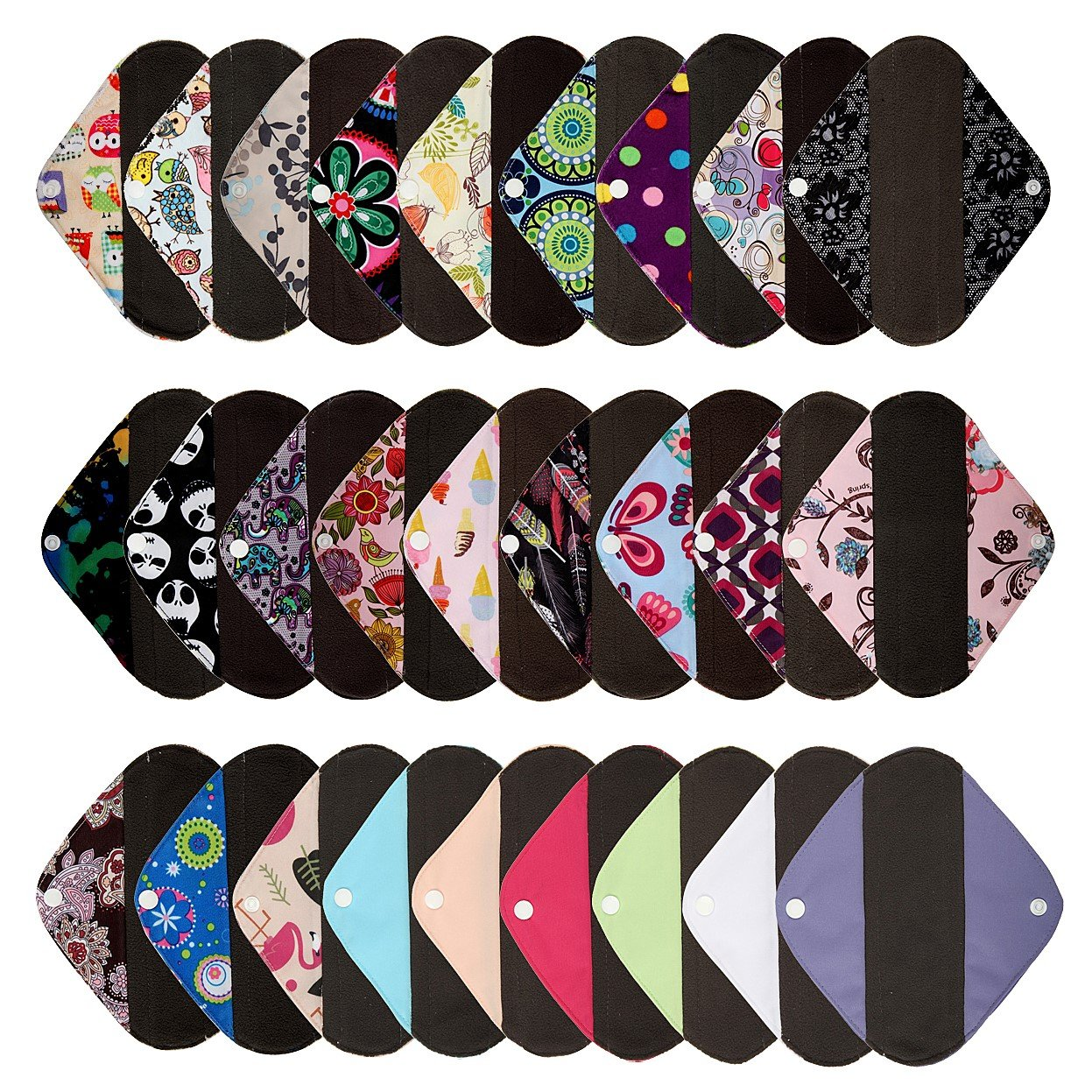 6 Pieces 8 Inch Charcoal Bamboo Mama Cloth/ Menstrual Pads/ Reusable Sanitary Pads / Panty Liners - You Choose 6 From 19 Designs and Email to Me