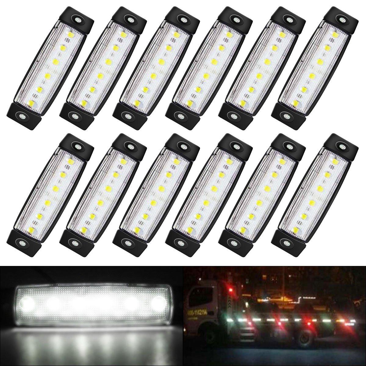 """(Pack of 12) AMBOTHER 12 Pcs 3.8"""" 6 LED Red Side Marker Lights, Trailer Lights, Led Marker Lights for Trucks, Marker Light, Cab Marker, RV Marker Light Red, Rear side Marker Light"""