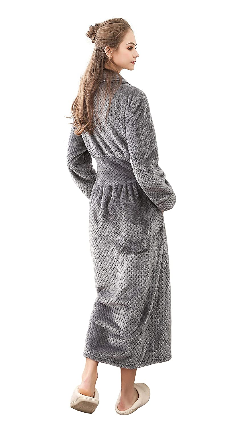 Honofash Towelling Dressing Gown Bathrobe Women Terry Ladies Fluffy