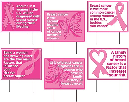 Amazon Com Breast Cancer Awareness Facts Yard Signs Set Of 6