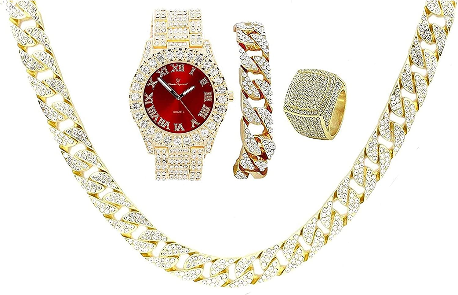 Fully Iced Mens Gold Big Rocks Bezel Bloody-Red Dial with Roman Numerals, Cuban Chain Bracelet, Cuban Necklace & Ring Size - Bloody Red/Gold - ST10327CRNG 81VR-pV-L4LUL1500_