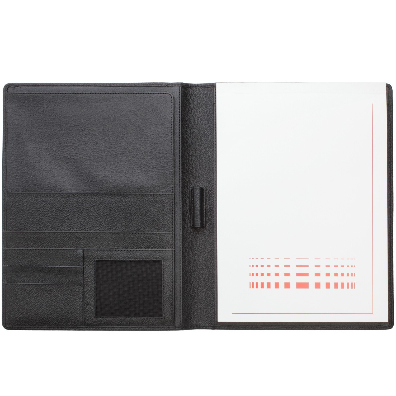 Cadenis Schreibmappe Konferenzmappe A4 mit Laser-Gravur feingenarbtes Nappa-Leder schwarz 31 x 24 x 2 cm