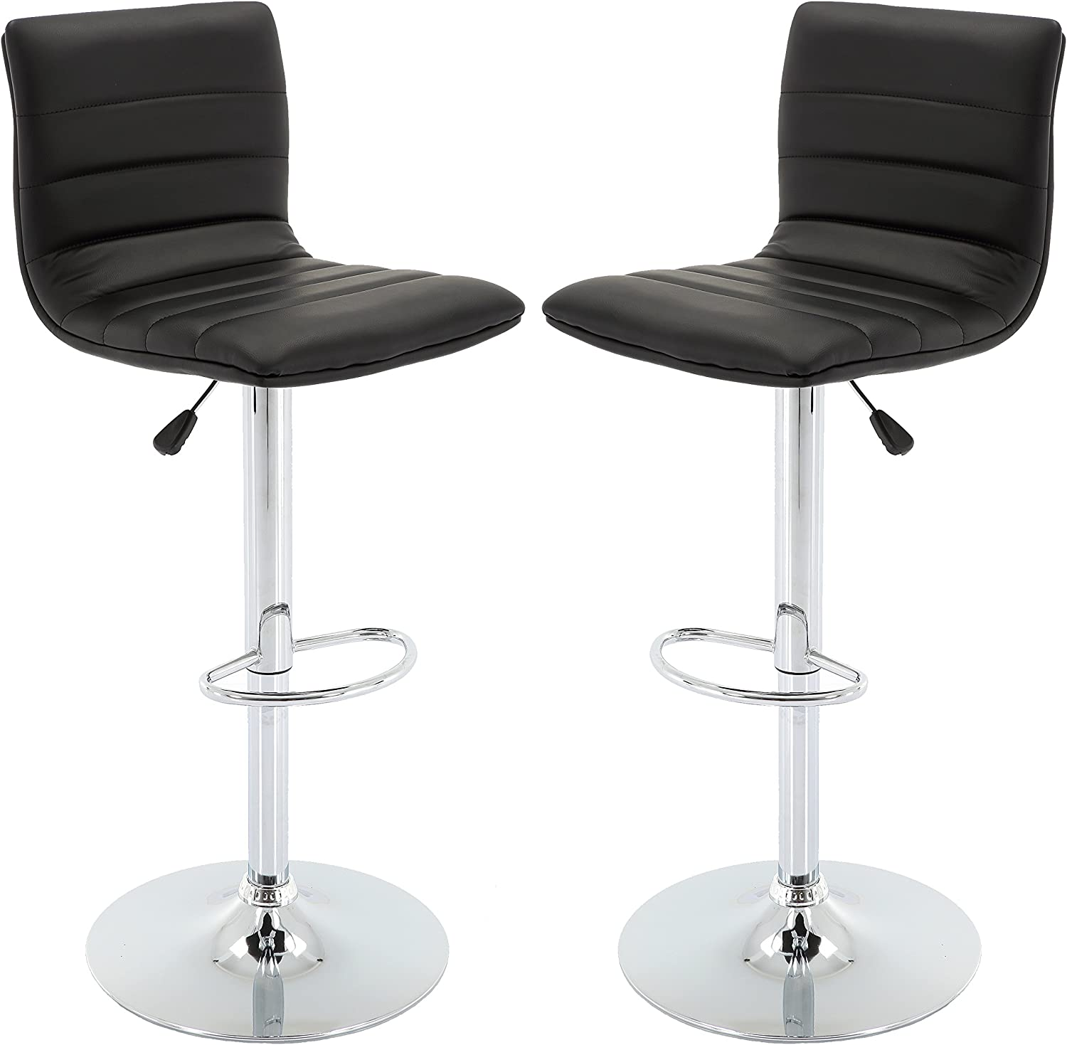 Vogue Furniture Direct Adjustable Leather Barstool, Black-VF1581024 Set of 2