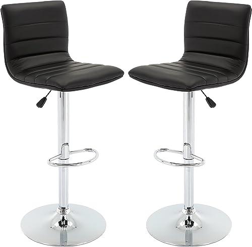 Vogue Furniture Direct Adjustable Leather Barstool, Black-VF1581024 Set of 2