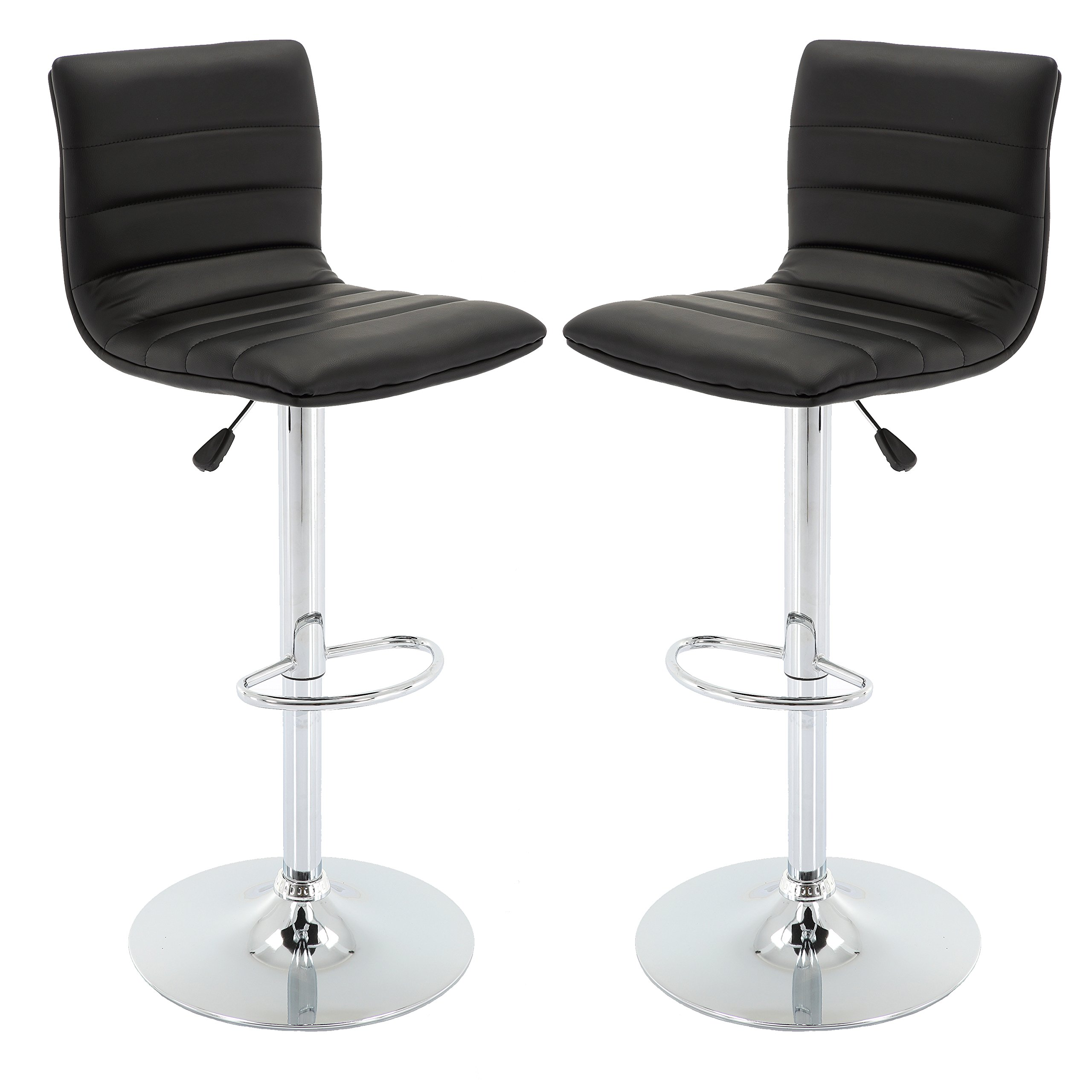 Vogue Furniture Direct Adjustable Leather Barstool, Black-VF1581024 (Set of 2)