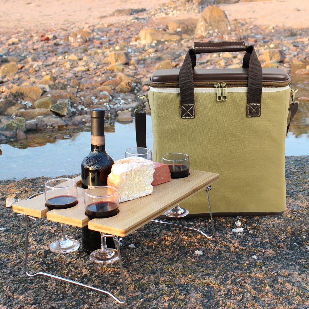 3 Bottle Heavy Duty Wine Cooler Bag/Insulated Wine Carrier for Travel/EVA Molded Champagne Carrying Tote/Wine & Cheese Set with 4 Glasses, Wine Opener & Stopper, Bamboo Cheese Board and Knife by HappyPicnic (Image #3)