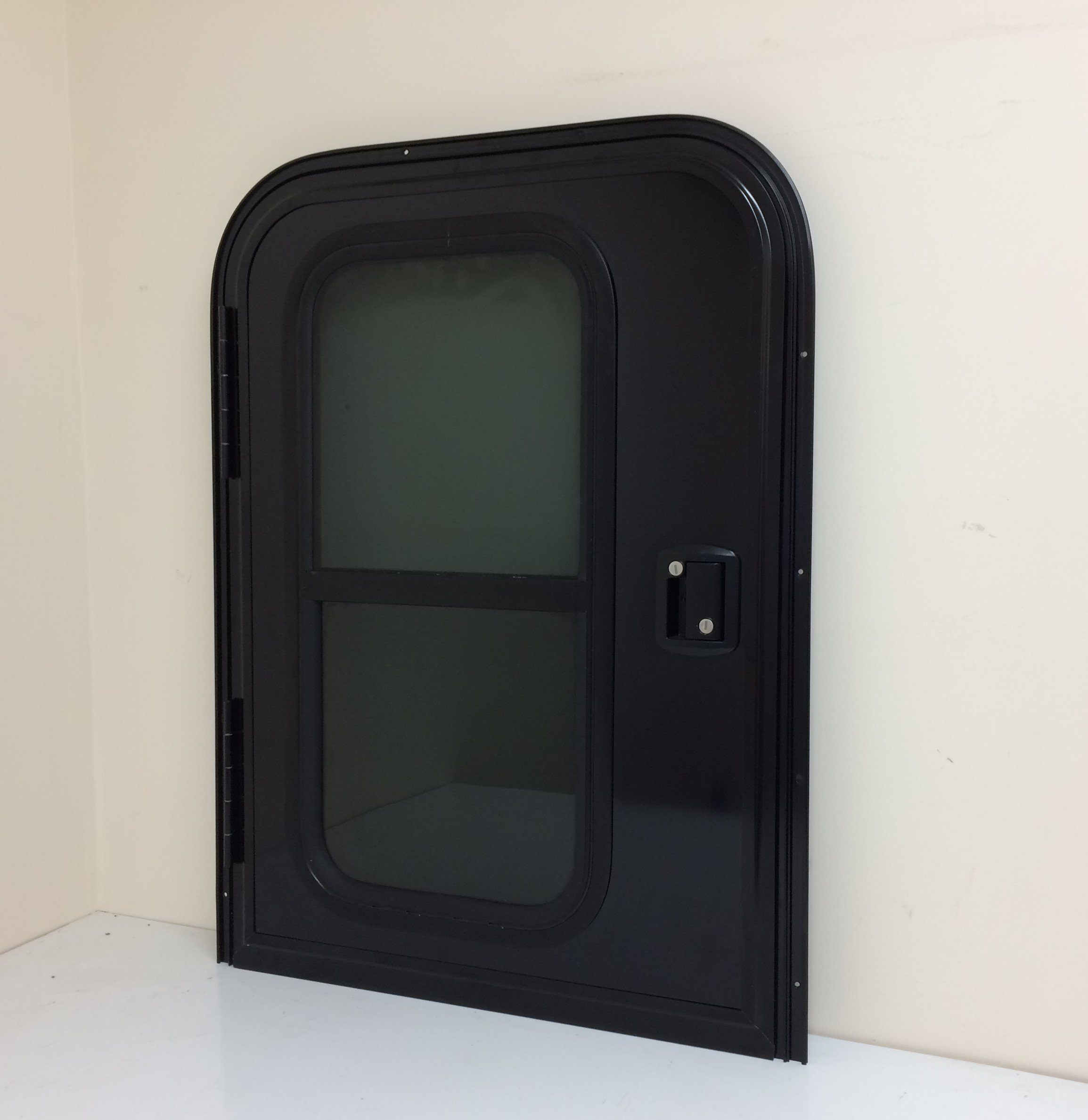 RV Teardrop WD29 26'' x 36'' Face Mount Foam Core Driver's Side Door with Radius Corners on Top and Square Bottom with threshold