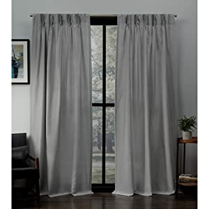 "Exclusive Home Curtains Loha Linen Pinch Pleat Curtain Panel Pair, 84"" Length, Dove Grey"