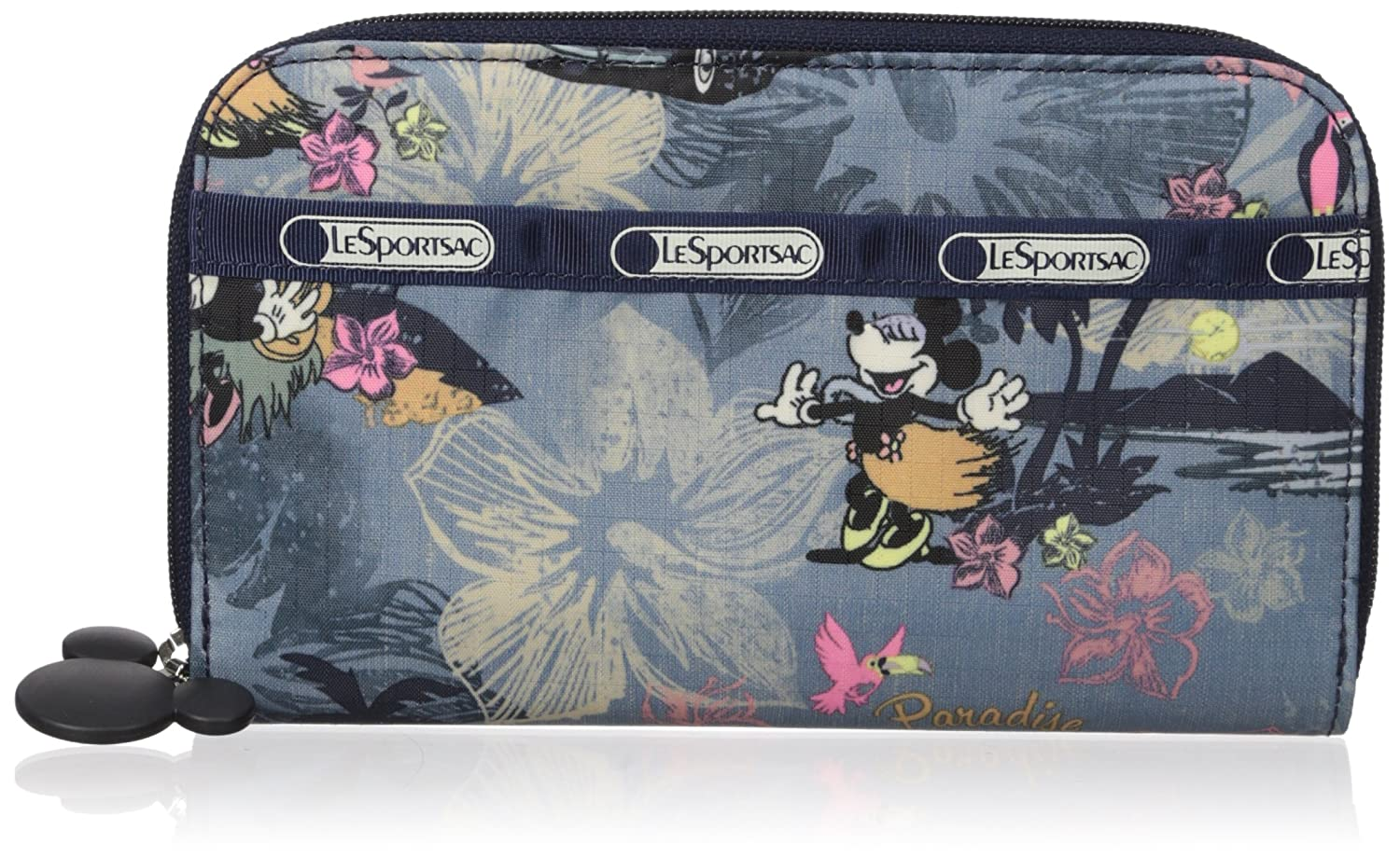 Vacation Paradise LeSportsac Lily Wallet, Black Crinkle Patent, One Size
