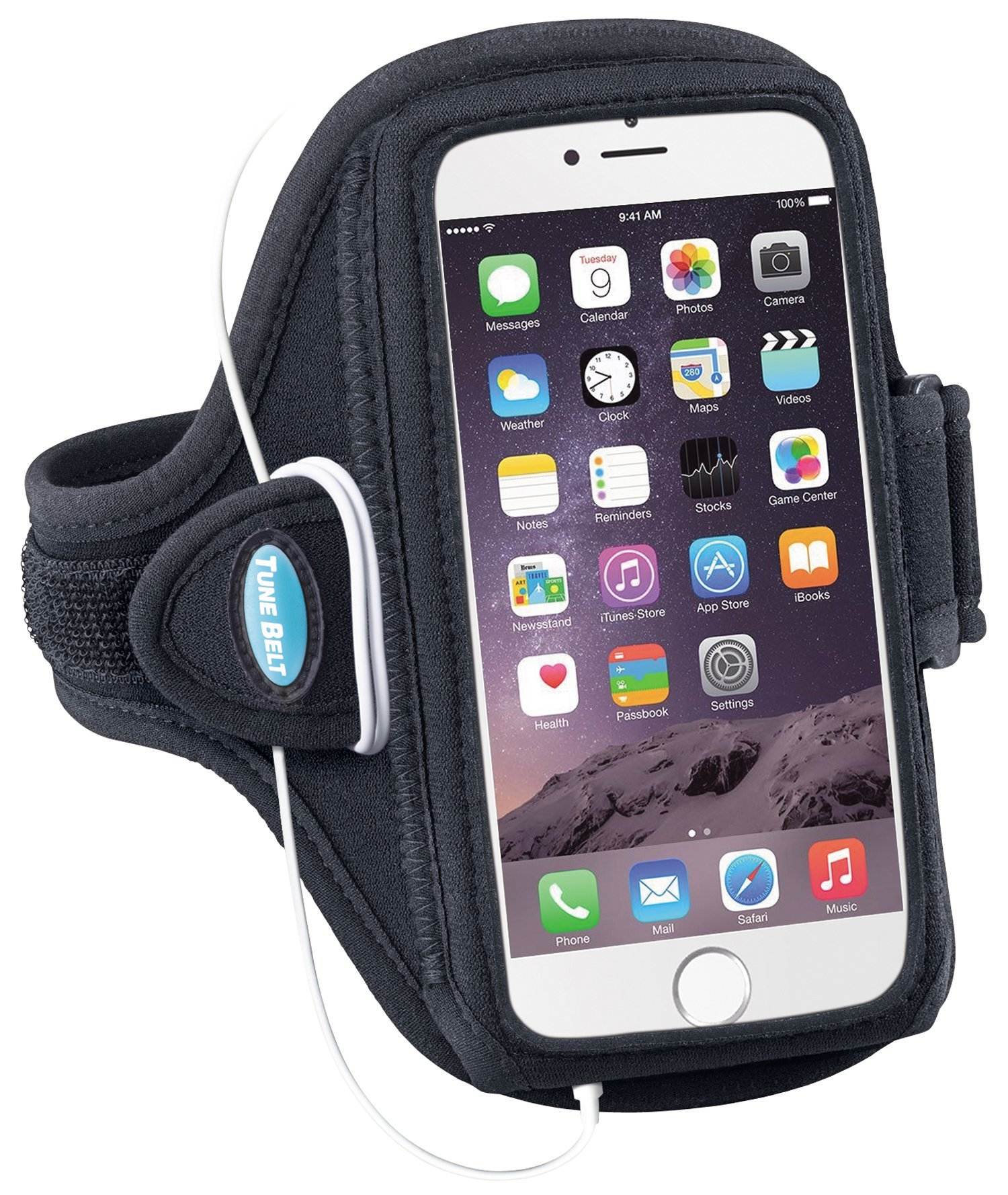 Armband for iPhone 6 6s 7 8 Plus, Samsung Galaxy Note 8 and S8 Plus - for Running, Jogging & Working Out - Water Resistant - for Women & Men [Black] See Fit Details by Tune Belt (Image #2)