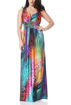 ad425962c053fe Bewish Boho Colorful Peacock Feather Print Deep V Neck Sleeveless Empire  Waist Maxi Dress Plus Size