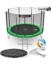 Hop-Sport Gartentrampolin Outdoor Trampolin 244, 305, 366, 430, 490 cm Komplettset inkl. Außennetz Leiter Wetterplane Bodenhaken Grün