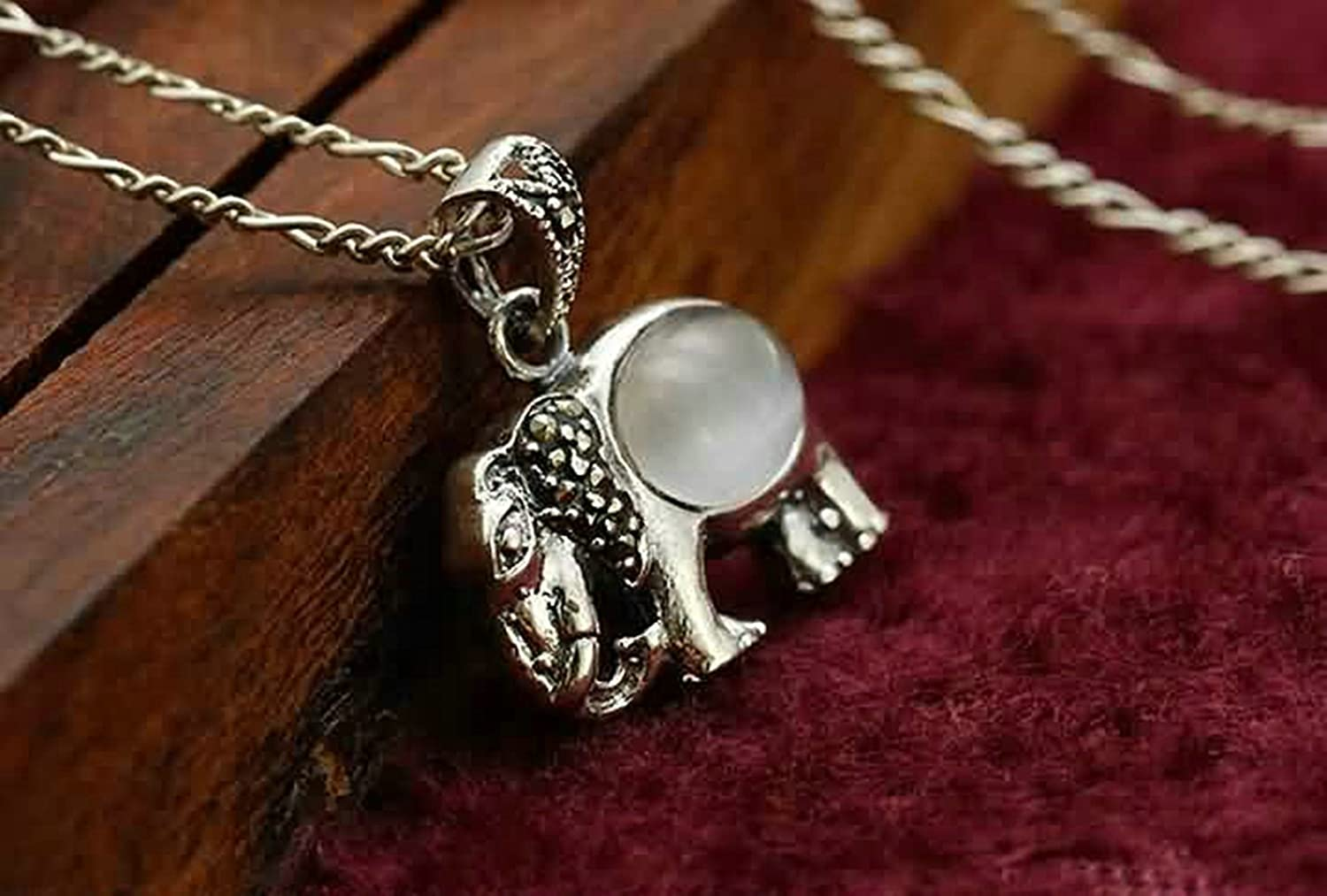 AMDXD Jewelry Women Silver Plated Pendant Necklaces Elephant Pave Oval Crystal Silver 1.47X1.78CM