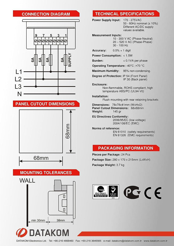 Amazon.com: DATAKOM DVF-0303 digital voltmeter and frequency meter ...
