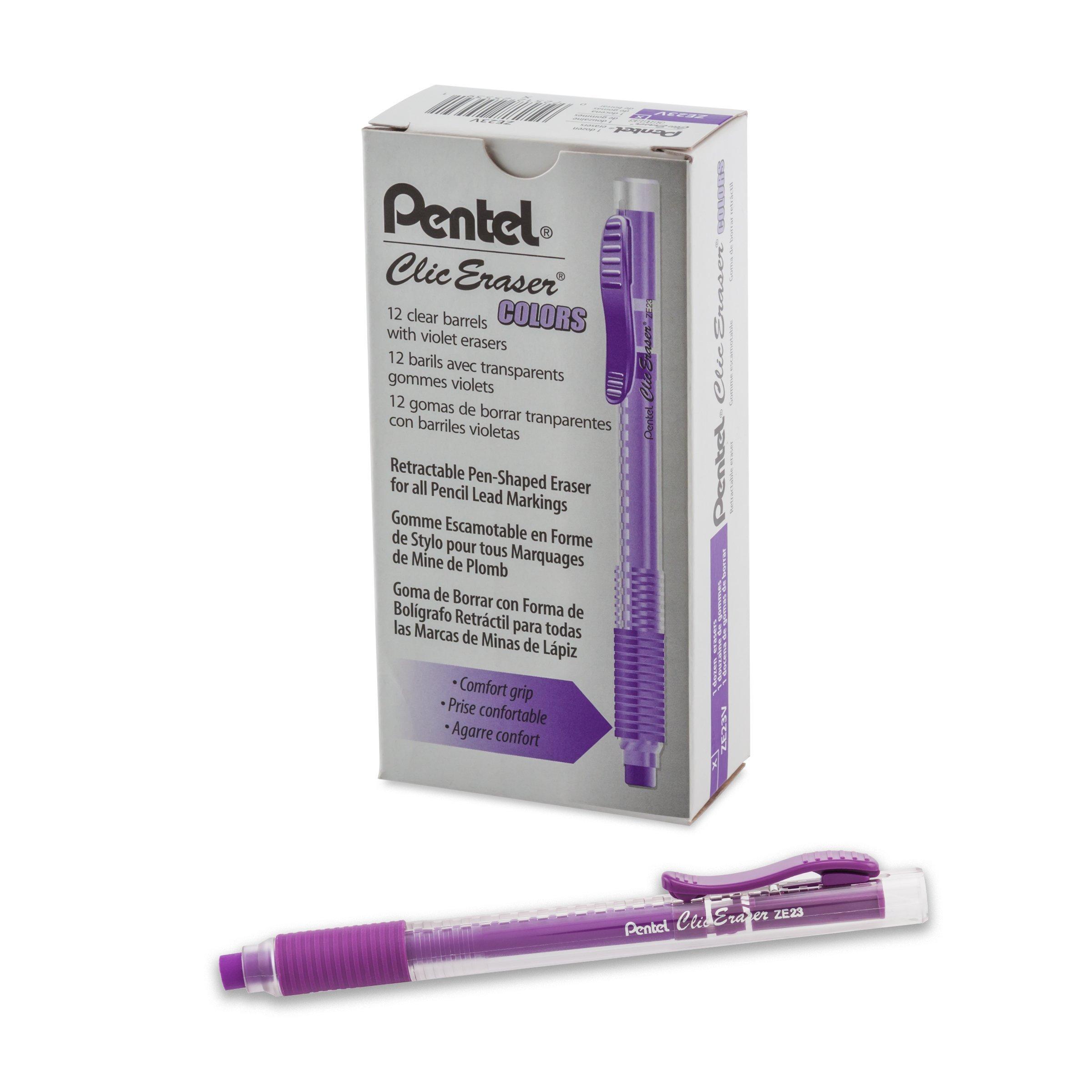 Pentel Clic Colors Retractable Eraser with Grip, Violet Barrel, Box of 12 (ZE23V)