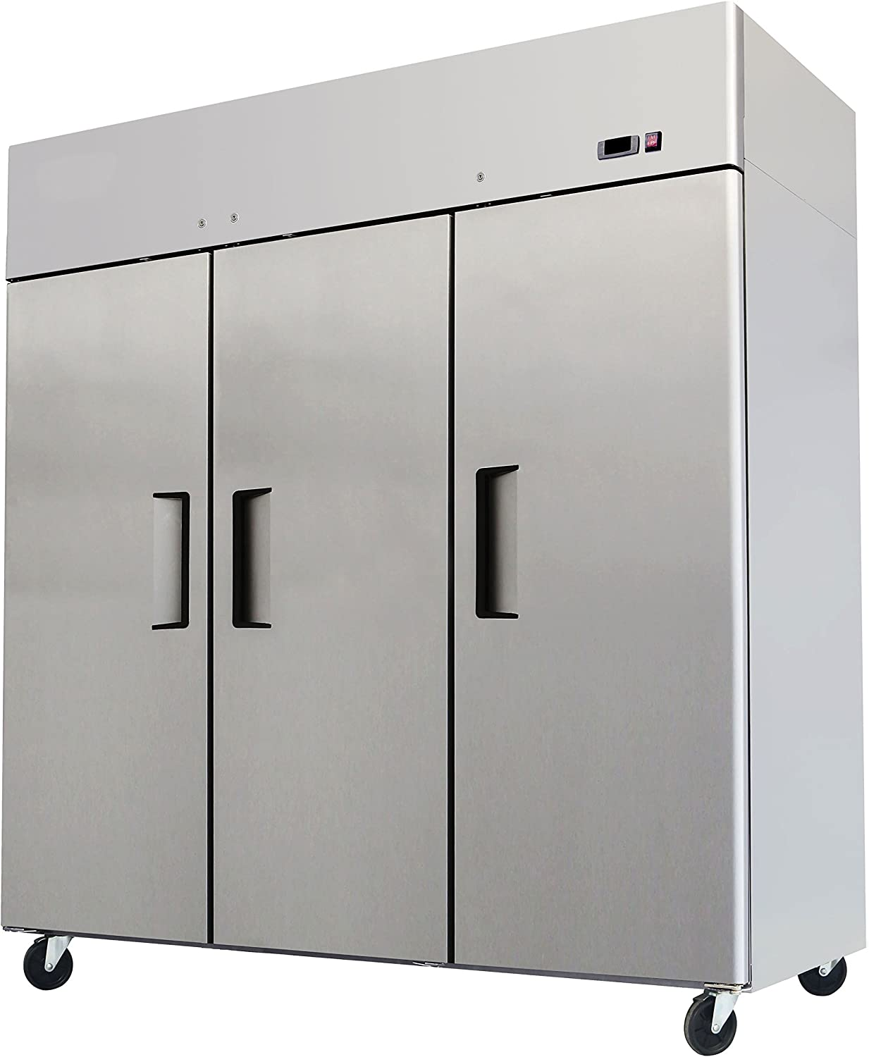 """78"""" Triple 3 Door Side By Side Stainless Steel Reach in Commercial Refrigerator, MBF-8006, 72 Cubic Feet"""