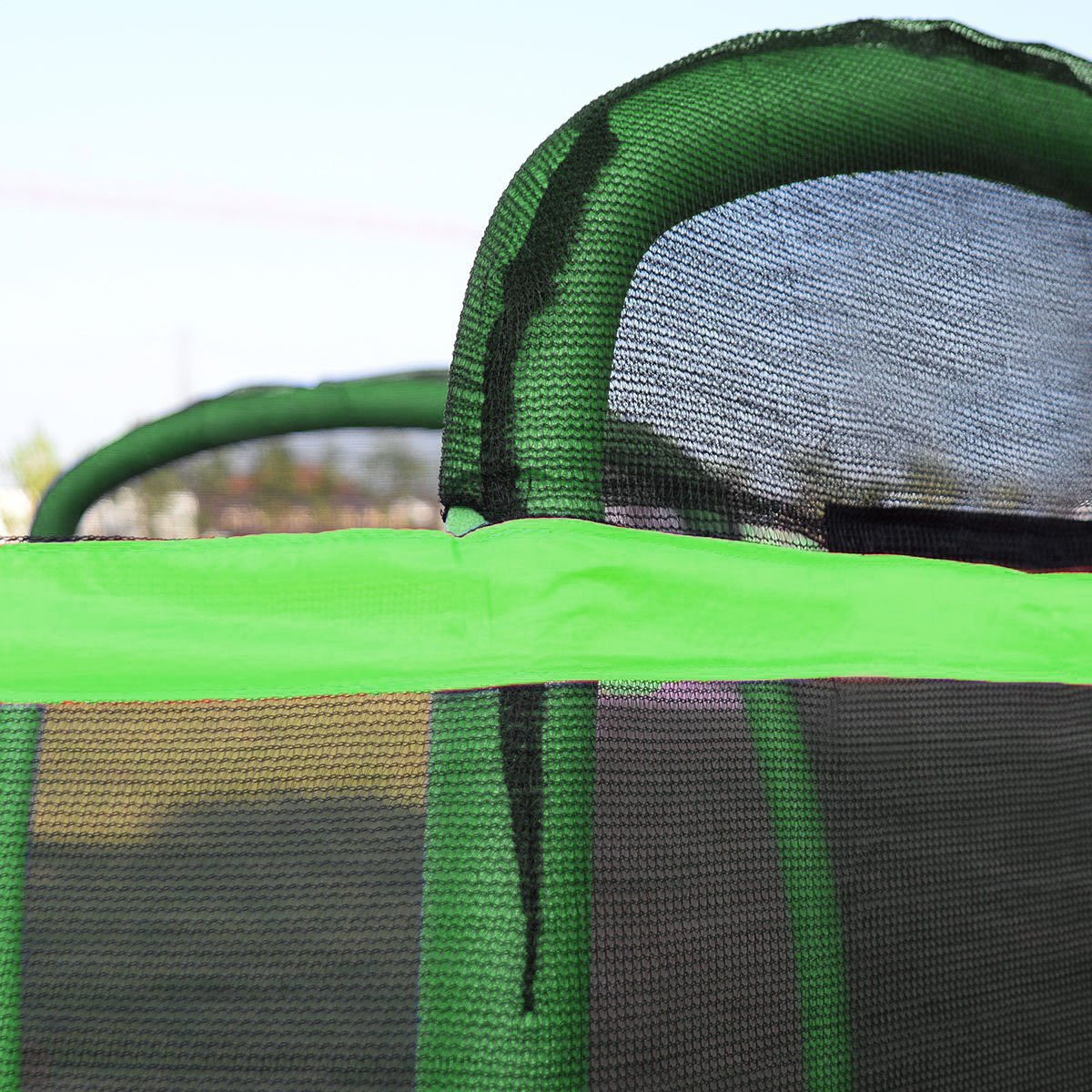 Clevr 7ft Kids Trampoline with Safety Enclosure Net & Spring Pad, 7-Foot Outdoor Round Bounce Jumper 84'' Indoor/Outdoor, Built-in Zipper Heavy Duty Frame, Green and Blue | Great Birthday Gift by Clevr (Image #8)