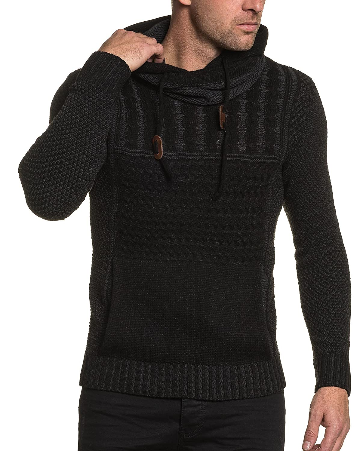 BLZ jeans - Men&#39s Sweaters black and twisted mesh cowl neck sweatshirt