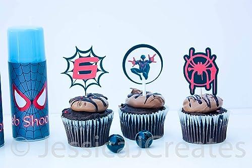 Amazon Com Spiderman Cupcake Toppers Miles Morales Into The Spider Verse Miles Morales Into The Spider Verse Cupcakes Spiderman Party Handmade