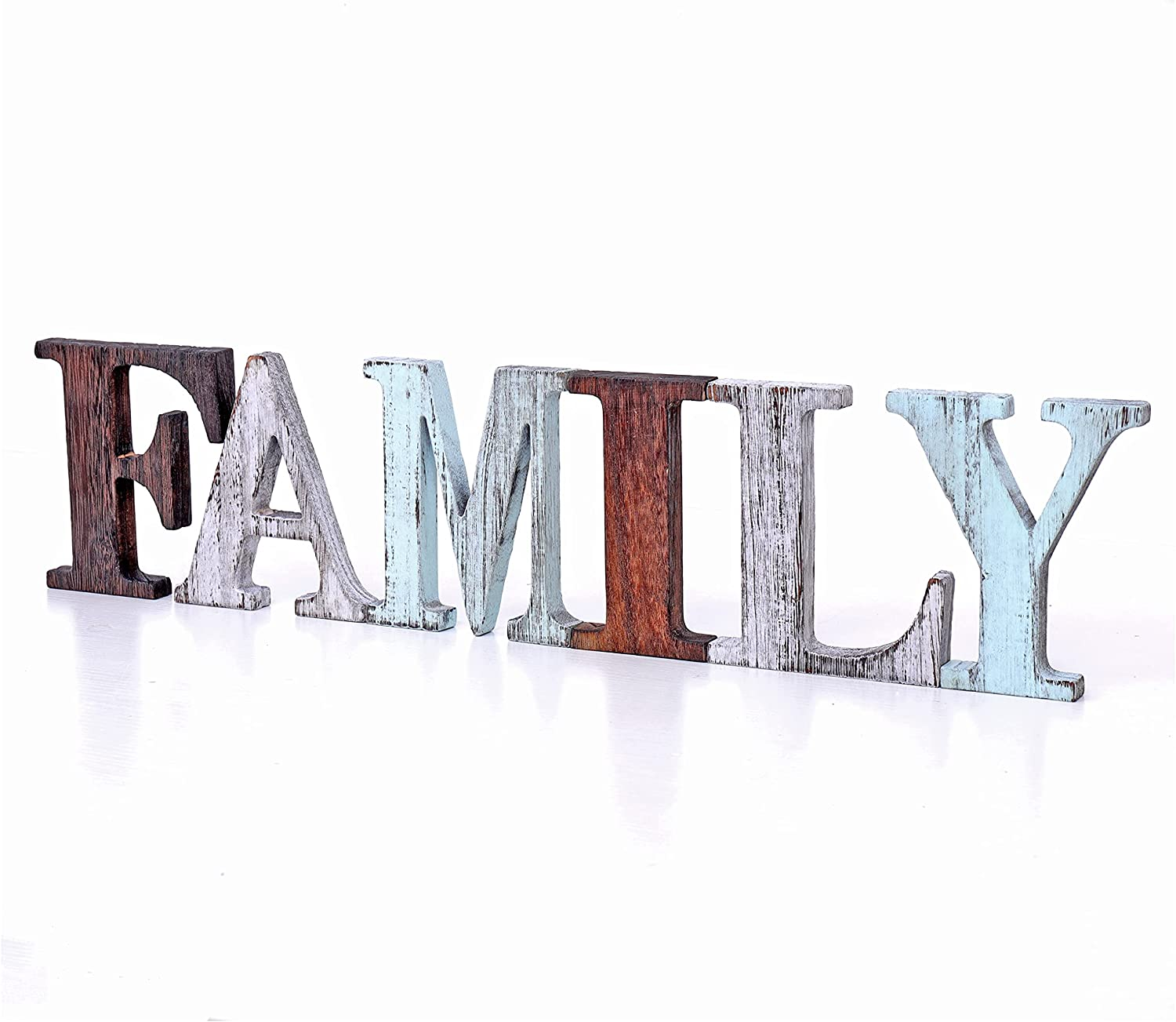 U/D Rustic Wood Family Sign Decorative Wooden Block Word Signs Desktop Sign,Wooden Blocks Rustic Letters Cutout Farmhouse Home Table Centerpiece Decor, Multicolor Freestanding Signs(Family)