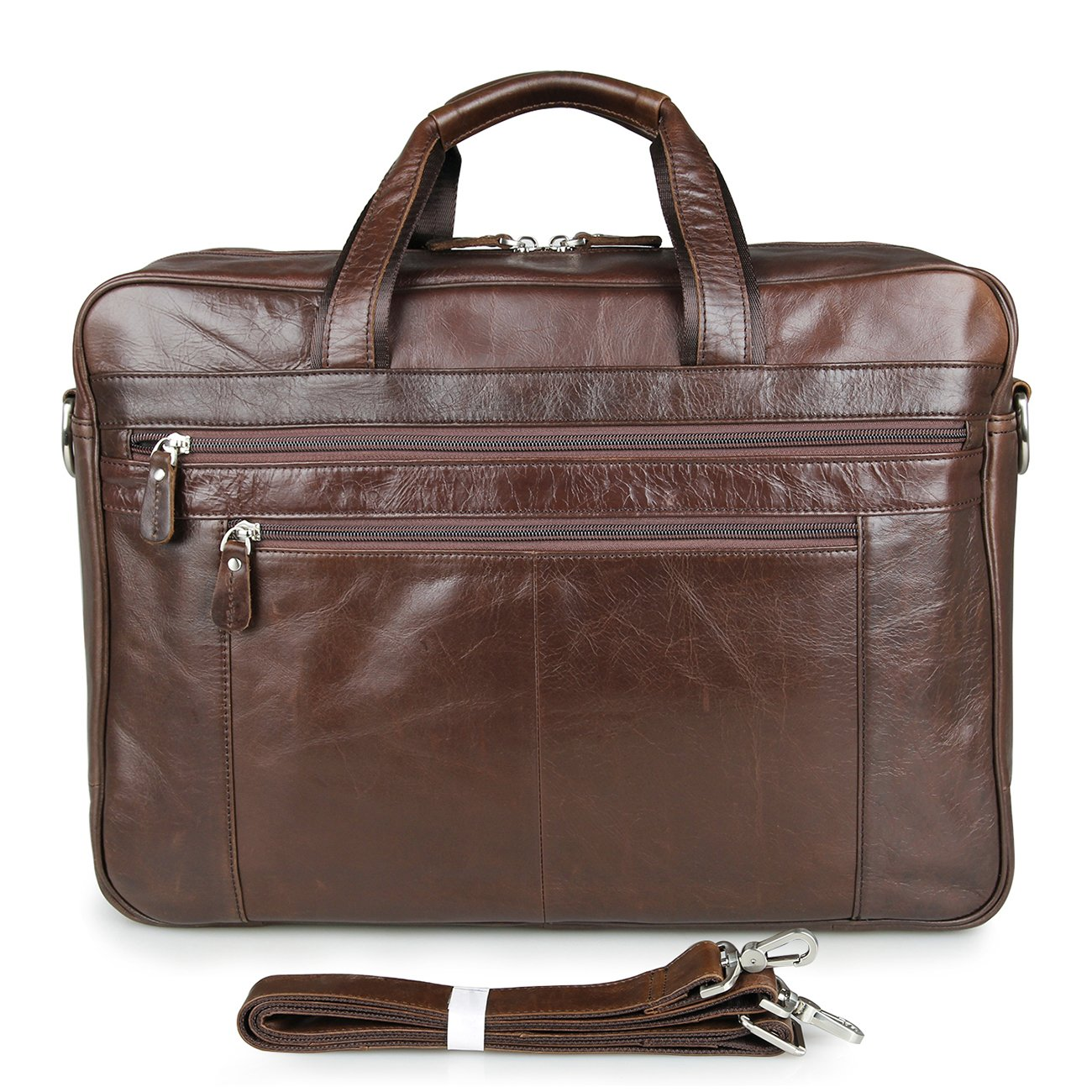 Polare Real Soft Nappa Leather 17 Laptop Case Professional Briefcase Business Bag For Men (coffee)