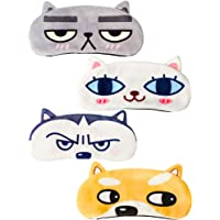 4 Pieces Cat Dog Cute Sleep Eye Mask Funny Animal Sleeping Masks Eye Cover Soft and Light Eye Masks for Blindfold Men…