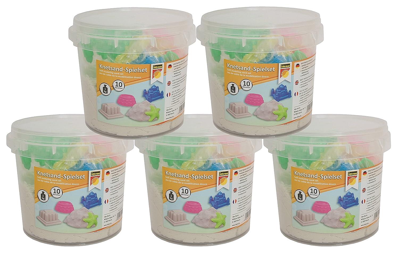 Idena 40415 Knetsand-Spielset, ca. 1 kg Knetsand und 10 Sandförmchen (5 Eimer Vorteilspaket) B01GZZS4N8 | Kunde zuerst