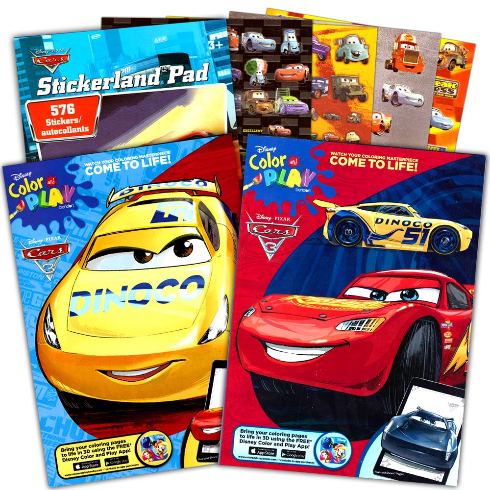 amazon com disney cars coloring book set 2 books featuring