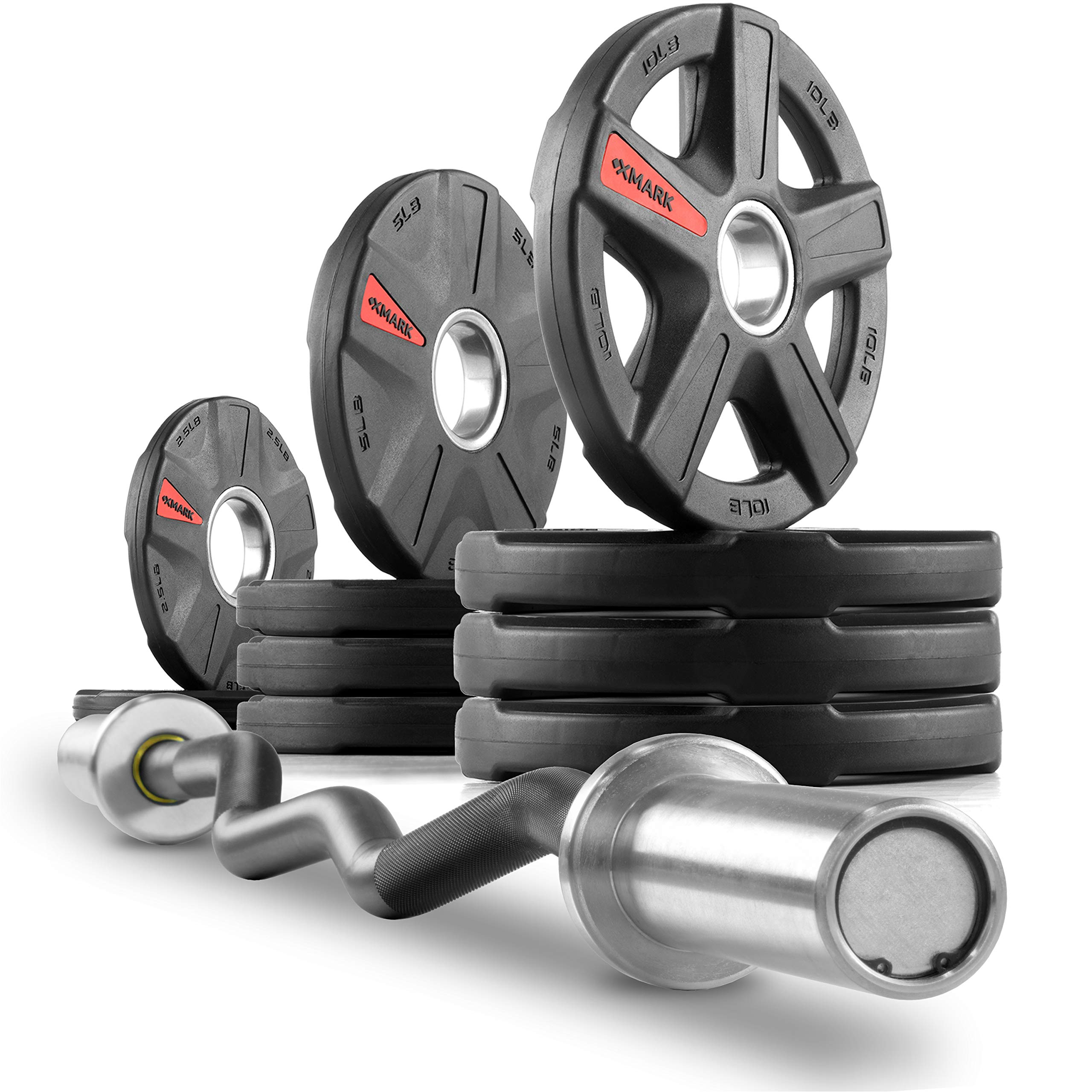 XMark Commercial Hard Chrome Olympic EZ Curl Bar Brass Bushings with Texas Star 65 lb. Olympic Plate Weight Set, Great for Bicep Curl and Triceps Extension, Can Be Used with Preacher Curl Bench