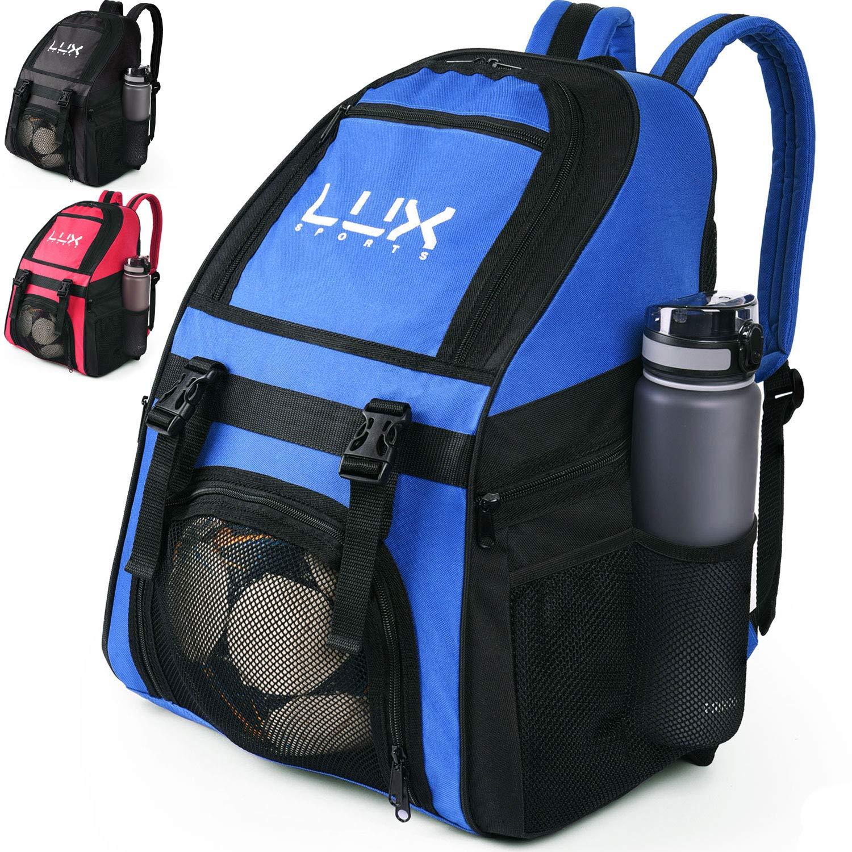 Lux - Mochila de fútbol con Compartimento para Pelotas de fútbol para jóvenes y niños, Bolsa de Equipo para fútbol y Baloncesto, Voleibol, Gimnasio, ...
