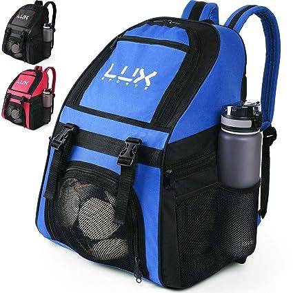 Lux - Mochila de fútbol con Compartimento para Pelotas de fútbol para jóvenes y niños, Bolsa de Equipo para fútbol y Baloncesto, Voleibol, Gimnasio