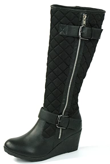 dd8b0b302405 NEW LADIES TRENDY KNEE HIGH WEDGE HEEL BLACK PADDED QUILTED PATENT BIKER  RIDING BOOTS SIZES 3 4 5 6 7 8 (UK 8