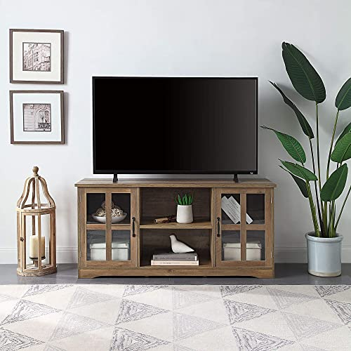 BELLEZE Cori 52 Inch TV Stand Wood and Glass Console