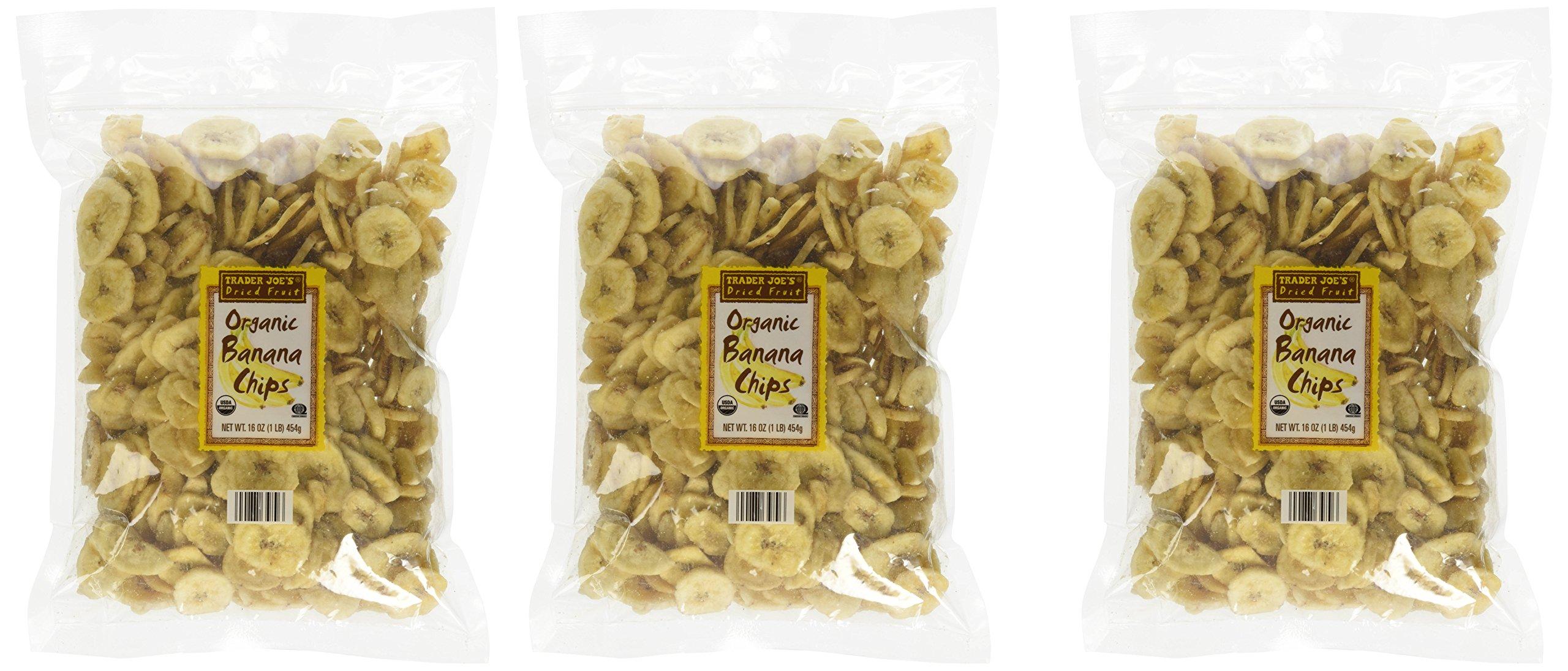 Trader Joe's Organic Banana Chips 16 Oz. (Pack of 3)