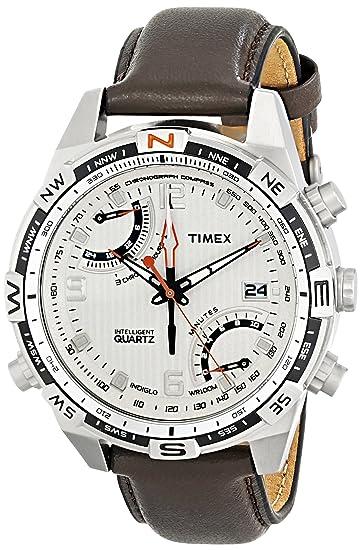 dd7095e2acb4 Timex T49866AU - Reloj analógico de caballero de cuarzo con correa de piel  marrón  Amazon.es  Relojes