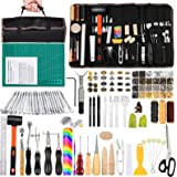 328Pcs Leather Tooling Kit, Leather Kit with Manual, Leather Working Tools and Supplies, Leather Stamp Tools, Stitching Groov
