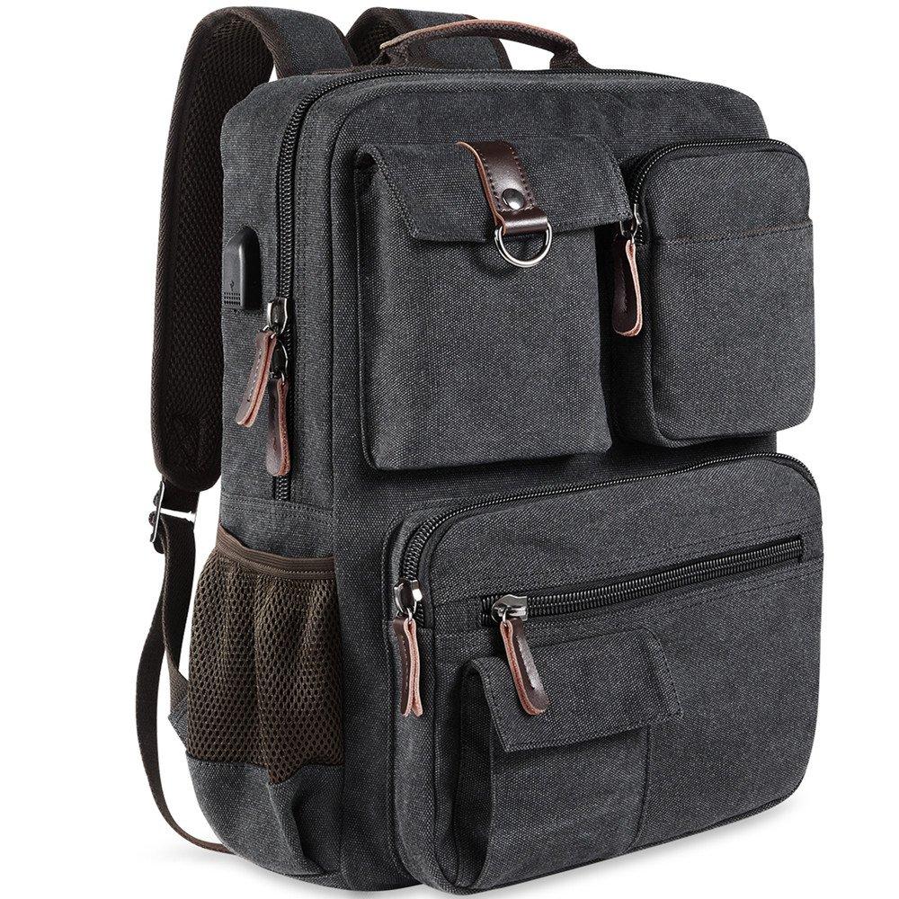 7fe2d6eb13 Amazon.com  School Backpack Vintage Canvas Laptop Backpacks Men Women  Rucksack Bookbags