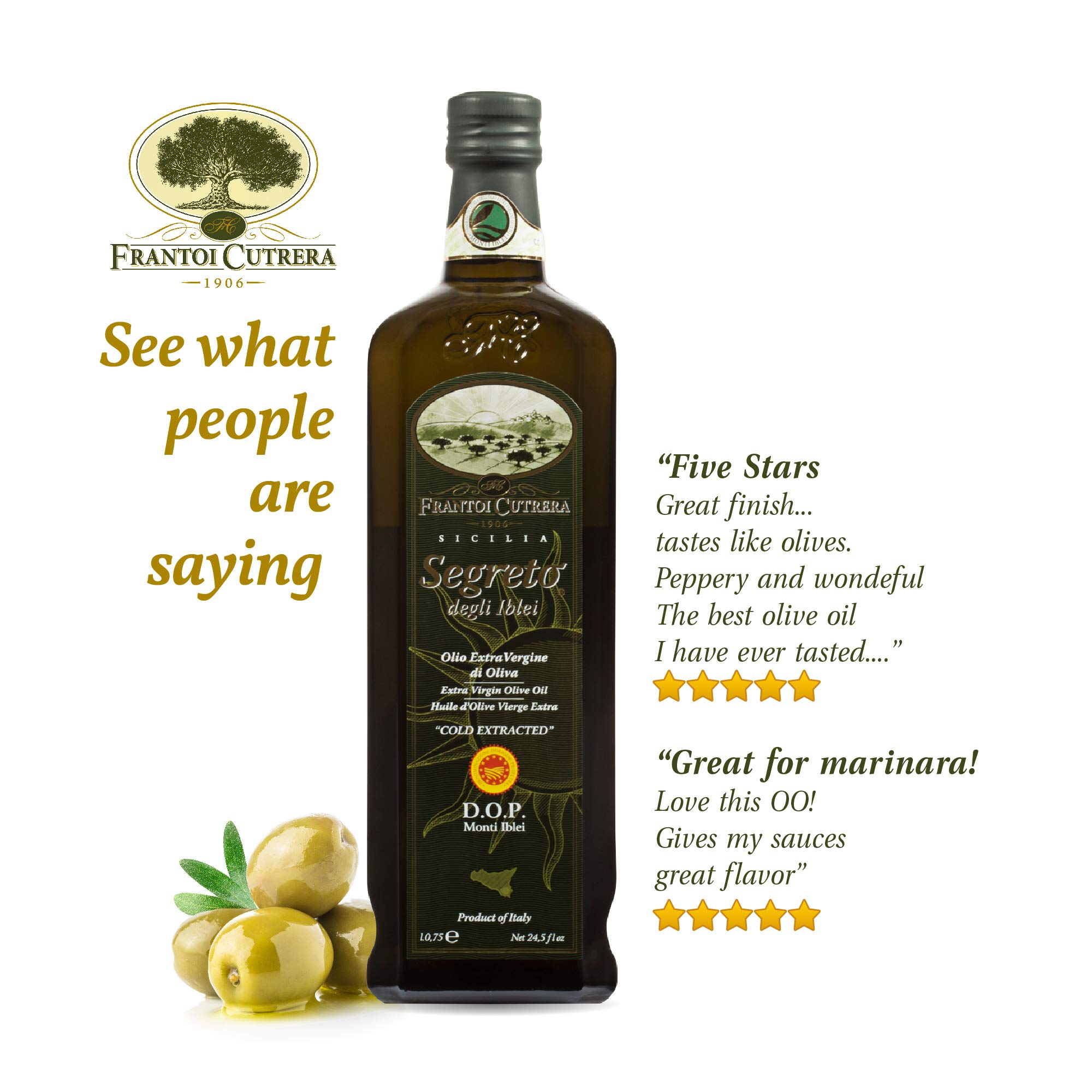 Frantoi Cutrera Segreto Degli Iblei Cold Extracted Extra Virgin Olive Oil D.O.P - Product of Italy, 24.5fl.oz (4 pack) by Frantoi Cutrera (Image #8)