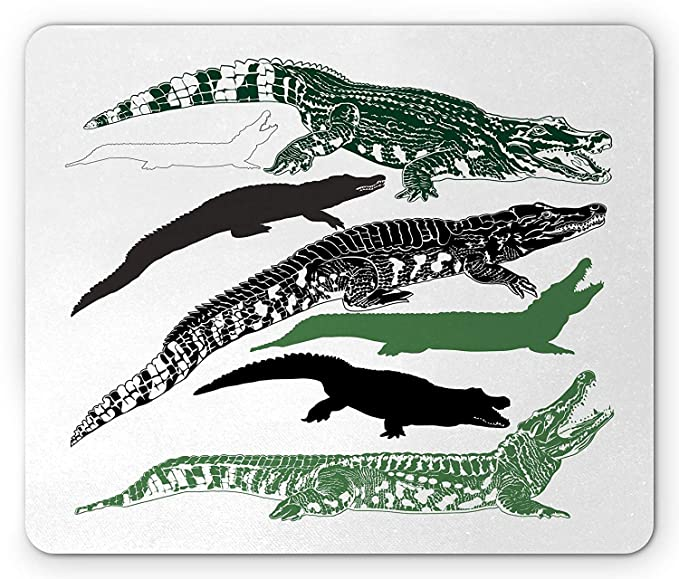 Casepillows Alligator Mouse Pad, Hand Drawn Silhouettes of ...