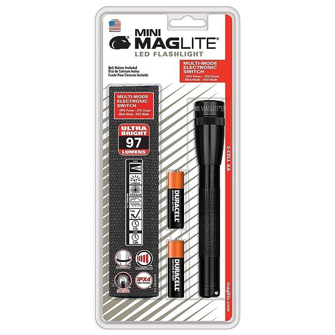 Mag-Lite Mini 2AA LED, 97 lumens, 17 cm noir avec 2 AA piles et étui en  nylon, SP2201H  Amazon.fr  Sports et Loisirs 7ab2ec562bf