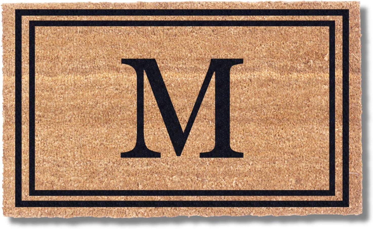 Coco Mats 'N More Black Double Bordered Monogrammed Coco Doormat 22