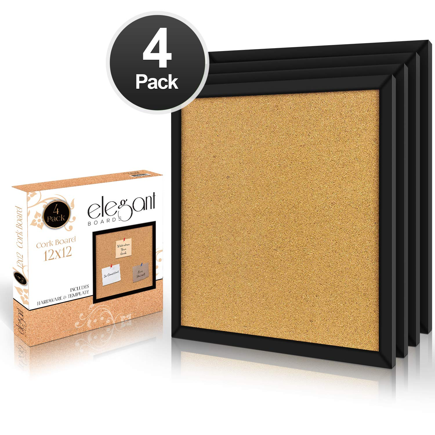 Elegant Boards 4 Pack Cork Bulletin Board 12'X 12' Square Wall Tiles, Modern Black Framed Boards for Home and Office (Hardware and Template Included)