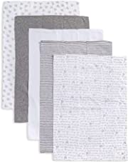 Burt's Bees Baby - Burp Cloths, 5-Pack Extra Absorbent 100% Organic Cotton Burp Cloths, Heather Grey Pattern