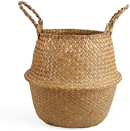 bamboo beach decor storage beaded Basket//box planter blue decorative med