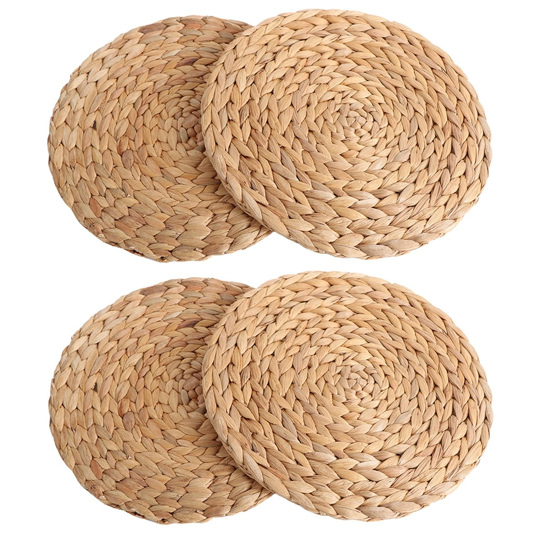 kilofly 4pc Natural Water Hyacinth Weave Placemat Round Braided Rattan Tablemats, 11 inch