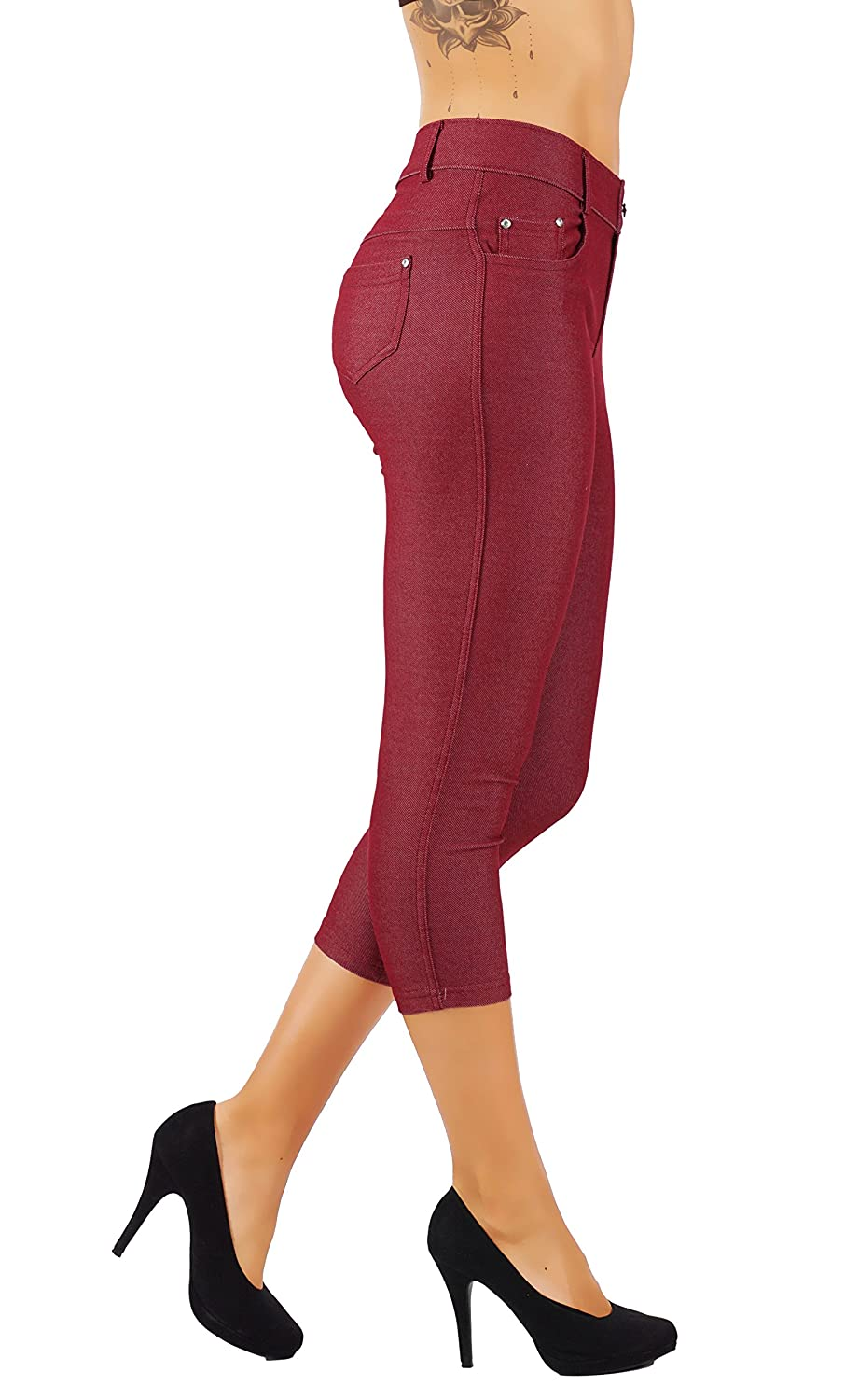 5s01cpbug 5StarsLine Women's Jean Look Jeggings Tights Slim Fit Pull Up Pants Solid colors Full Length and Capri Casual Leggings S3X