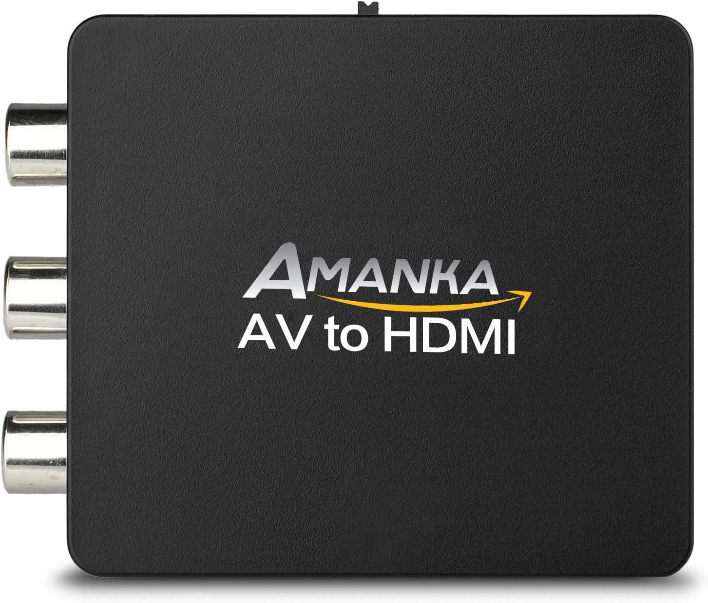 AMANKA Mini Conversor AV a HDMI Convertidor Compuesto RCA CVBS Transformar Señal Audio y Vídeo Adaptador Soporte PAL/NTSC Interruptor, Full HD 3D 1080P, Negro: Amazon.es: Electrónica